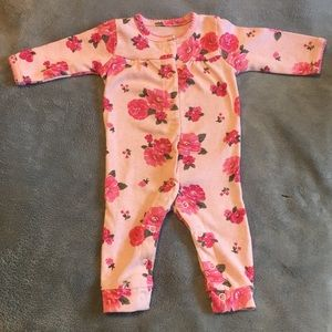 Newborn Carters Pink & Roses long sleeve outfit.